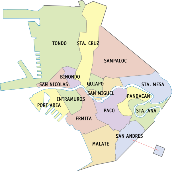 Map of Manila Districts for Manila Barangay Elections 2013